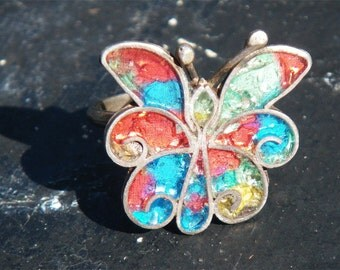 butterfly rainbow ring - Vintage sterling Mexican Silver -adjustable, colorful