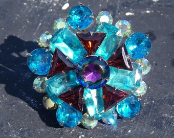 Huge vintage rhinestone brooch - blue, red, green - 1950s
