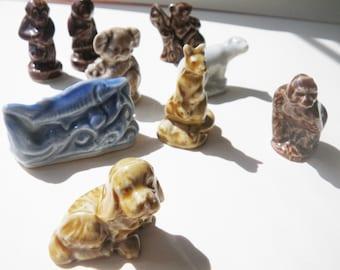 9 Wade Whimsy figurines  - puppy, polar bear, girl monkey, boy monkey, koala, gorilla