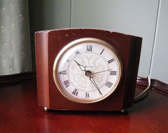 Vintage Alarm Clock - Westclox - Mahogany - Sheraton - 1940s-1950s