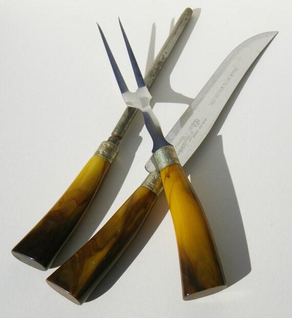 Vintage carving set knife fork and sharpener bakelite
