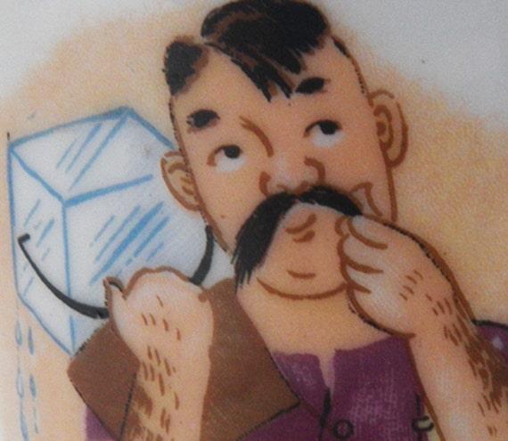 Moustache man mug - vintage 1920s