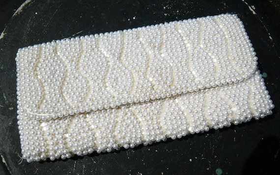 Wedding clutch purse - vintage pearl and beads