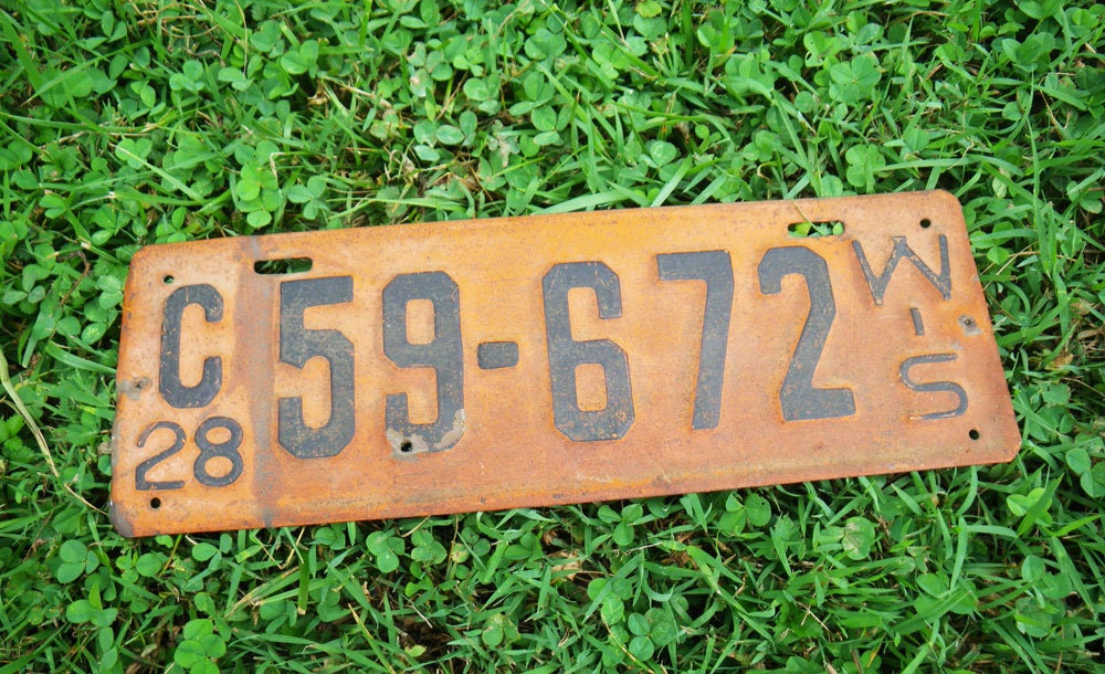 Vintage Car License Plate Wisconsin 1928 Price Reduced