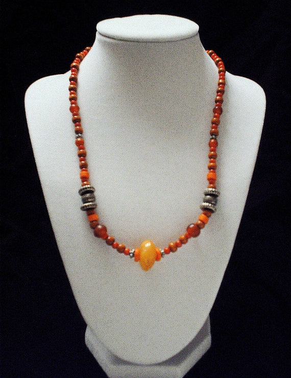 African Butter Amber and Coral (Orange, Red, Brown) Necklace