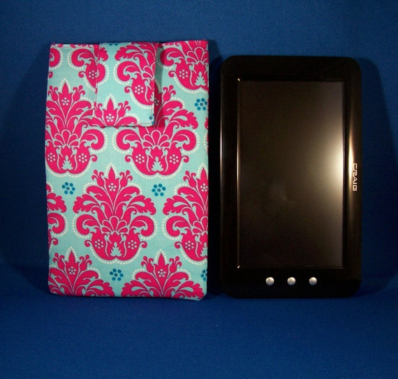 Turquoise & Hot Pink Magenta with Medallion Design 7 inch E-reader Tablet Sleeve Pouch CYBER SALE