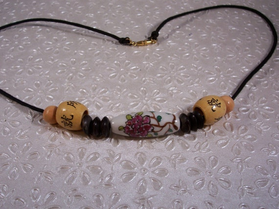 White Asian Porcelain Focal Bead Necklace with Bamboo Beads on Waxed Cotton Cord