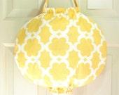 Grocery Bag Holder- Unique Design- Taza Tarika Yellow Fabric by Dena Designs- Plastic Bag Holder