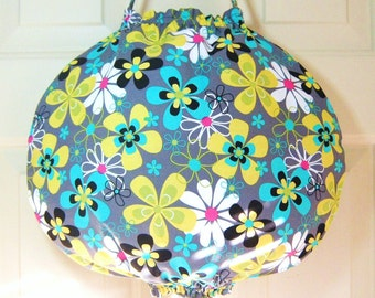 Plastic Grocery Bag Holder in the Groovy Michael Miller Lagoon Far Out Floral Gray Fabric- Exclusive Round Design Plastic Bag Holder