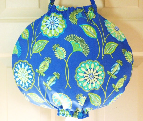 Grocery Bag Holder- Exclusive New Design using Michael Miller Gypsy Bandana Moon Gypsy Flower Periwinkle fabric