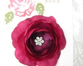 PRETTY PLUM Ranuncula Flower Hair Clip with Crystal Center for Girls and Women