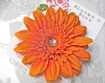 Beautiful Orange Silk Daisy Flower Hair Clip for Women and Girls