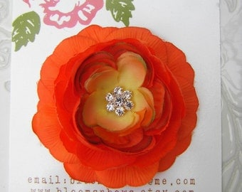 PERFECT ORANGE Ranuncula Flower Hair Clip with Crystal Center for Girls and Women