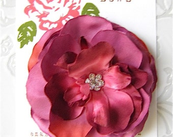 Pink Plum Garden Rose Hair Flower Clip for Girls and Women with Rhinestone Center