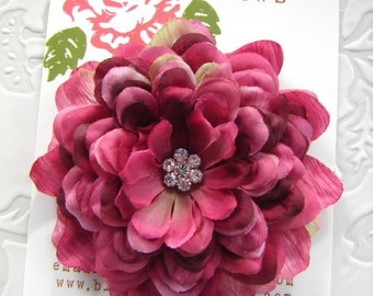 Stunning Deep Pink Plum Mumm  flower hair clip with multi rhinestone center for girls or women