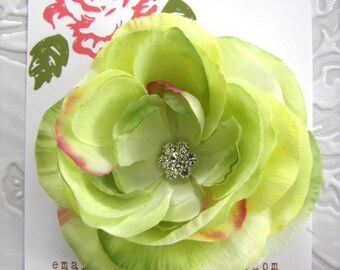 Beautiful LIME LEMON GREEN Hair Flower Clip for Girls and Women with Multi Swarovski Crystal Center -Perfect Portrait Accessory