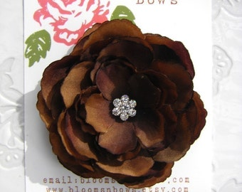 GORGEOUS Brown Hair Flower Clip for Girls and Women with Multi Swarovski Crystal Center -Perfect Portrait Accessory
