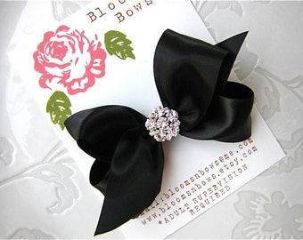 Black Satin Bow - Classic Black Hair Bow- Satin hair Bow, special occasion hair bow-  with Large Rhinestone Cluster Center Hair Clip