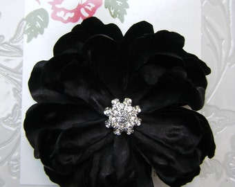 Black Peony Flower Hair Clip for girls or women with multi cluster rhinestone center