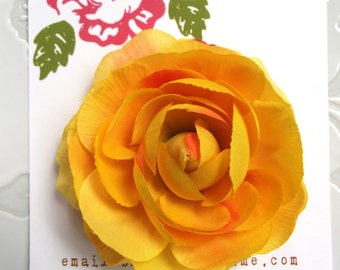 YELLOW Hair Flower Clip for Girls and Women with Crystal Center