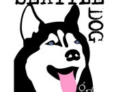 Husky City Dog Art Print Customize with your City or State Name 8 x 10 Matted to 11 x 14