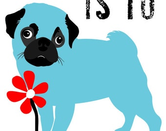 Pug Art Print with the Adorable Face Wall Decor Digital Print