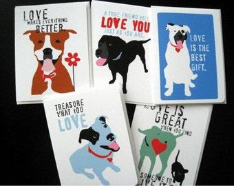 Dog Valentine Card Set, Dog Card Set,Love & Friendship Stationery Paper Goods 5 Pack