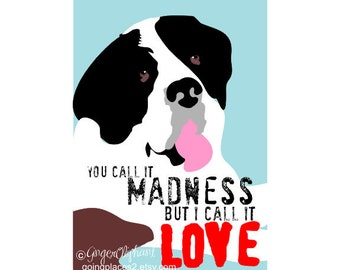 Saint Bernard Love Art Dog Print Wall Decor