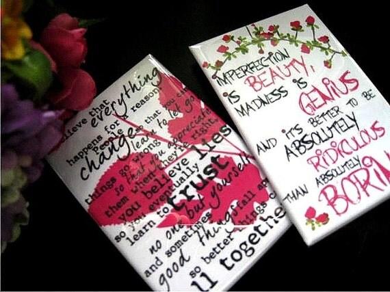 Marilyn Monroe Quotes Fridge Magnet  Set 2 x 3 Gift for Women