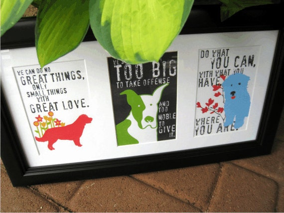 Framed Inspirational Dog Art Prints Your Choice of 3 Matted in Wood Frame