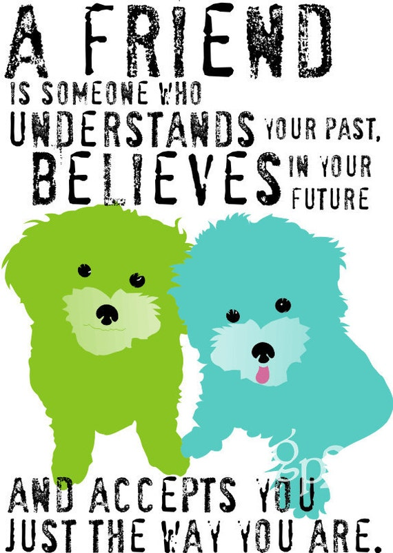 Maltese Dog Art Wall Decor Friendship Print Inspirational Series