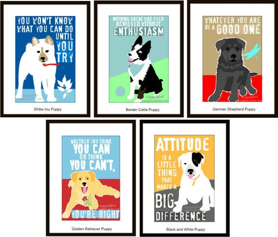 Classroom Decor Motivational for Kids, Puppy Art Prints, Dog Themed Classroom, 5 Piece Set for the Price of 4, 5x7-Matted to fit 8x10 Frame
