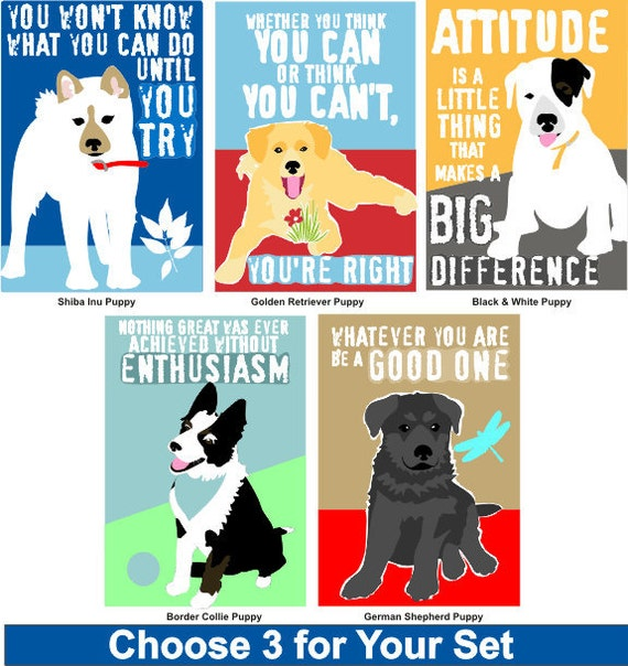 Motivational Fridge Magnet Set for Children Featuring Puppies Choose 3