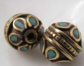 Tibetan Beads Brass Turquoise Inlay Set of 2
