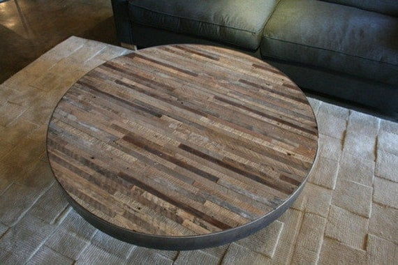 Reclaimed Wood Round Coffee Table Patchwork Design By