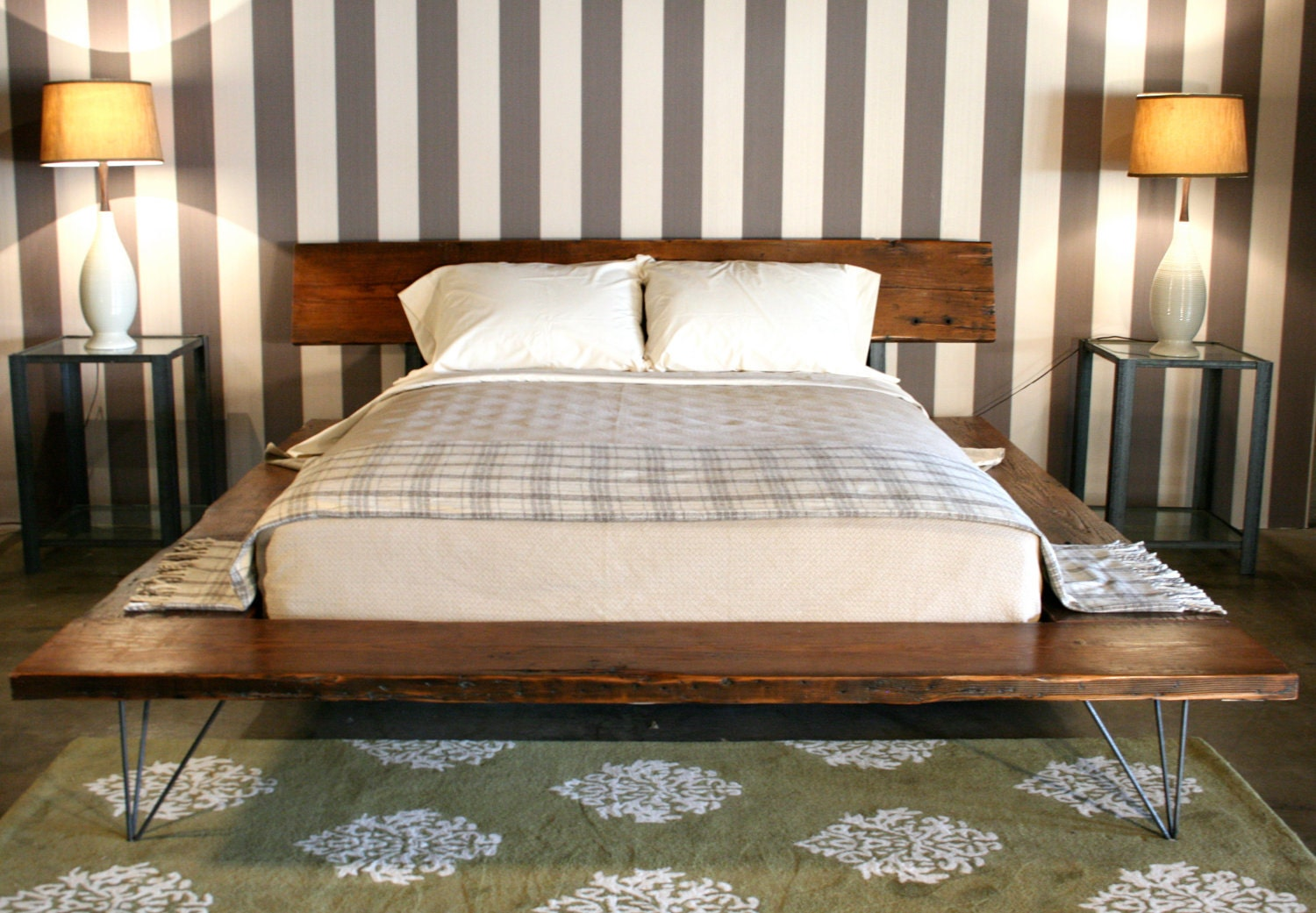 Reclaimed wood platform bed frame handmade by crofthousela - Cool queen bed frames ...