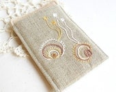 Handmade linen iPod cozy with fine embroidery