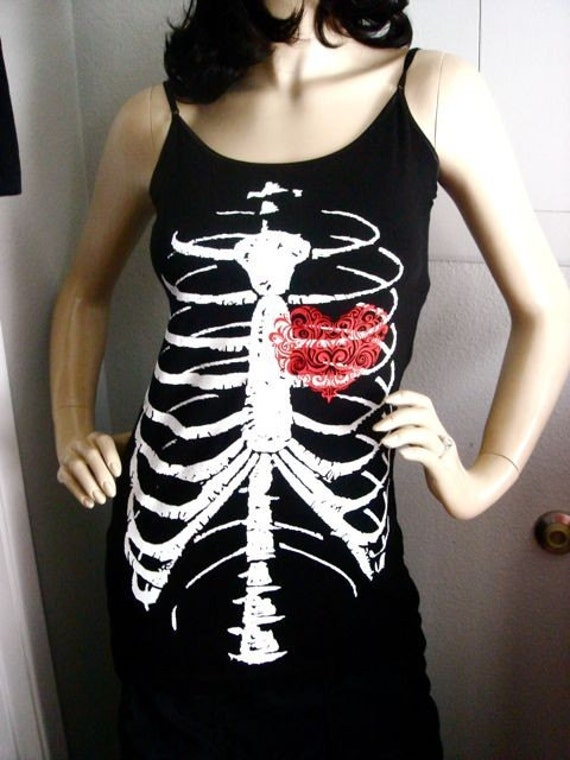 Have a Heart Black tank top with skeleton graphic heart
