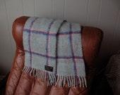 Vintage new mohair blend scarf light gray plaid W Germany St Michael unisex mint