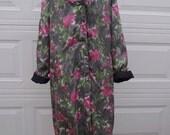 Vintage 60s acetate silk watercolor pattern hooded spring coat
