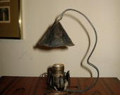 """Old antique Arts & Crafts period/style dwarf night table lamp hammered iron 11""""H"""