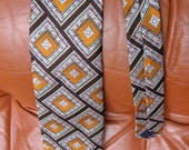 Vintage 70s Givenchy gentleman Paris tie geometric print on brown