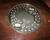 """RESERVED Vintage 40s 11.75"""" D round vanity mirror bevelled with floral etching"""