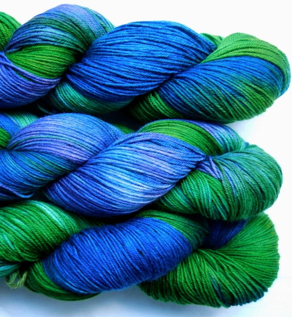 Hand Dyed Sock Yarn, fingering weight, 4ply superwash merino, 3.5 oz,  Basel, color My Favorite Piece