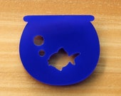 Laser Cut Acrylic Brooch Blue Fish Bowl