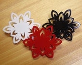 Laser Cut Acrylic Brooch Flower  - white, red or black SALE