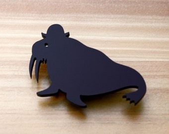 Walrus brooch black or blue laser cut acrylic