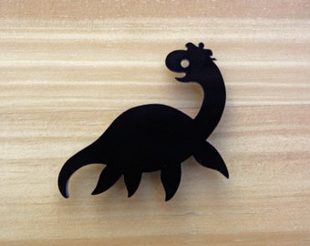 Loch Ness Monster black or blue laser cut brooch