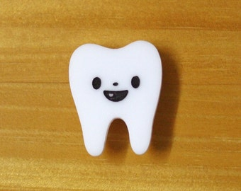 Laser Cut Acrylic White Brooch Tooth