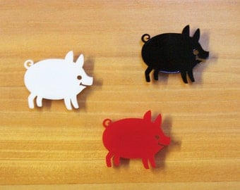 Pig laser cut brooch red or black SALE
